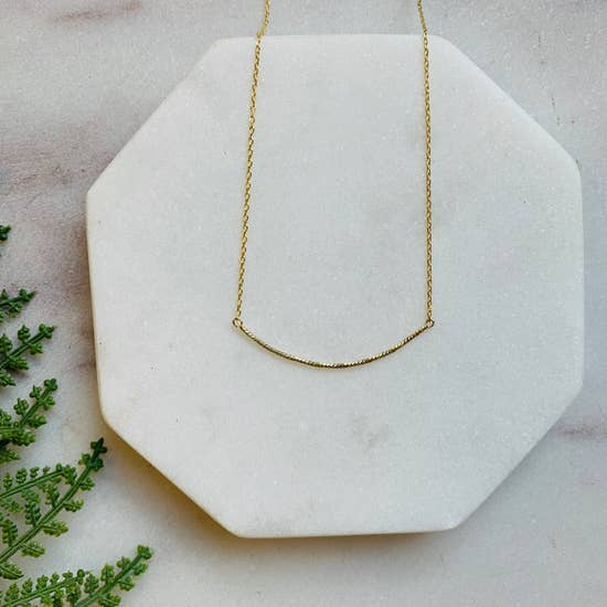 Delicate Gold Curved Bar Necklace