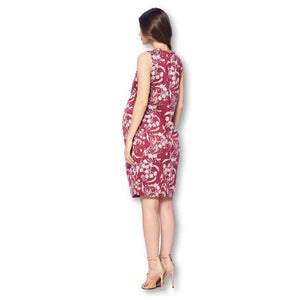 Burgundy and Ivory Floral Front Pleated Maternity Dress