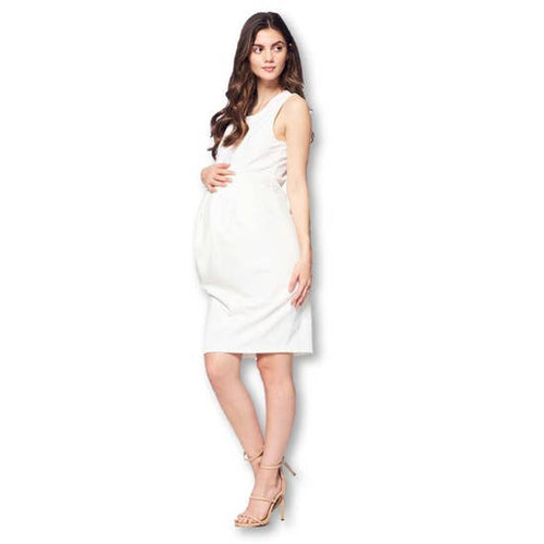Ivory Front Pleated Maternity Dress