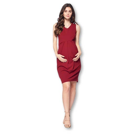 Burgundy Front Pleated Maternity Dress