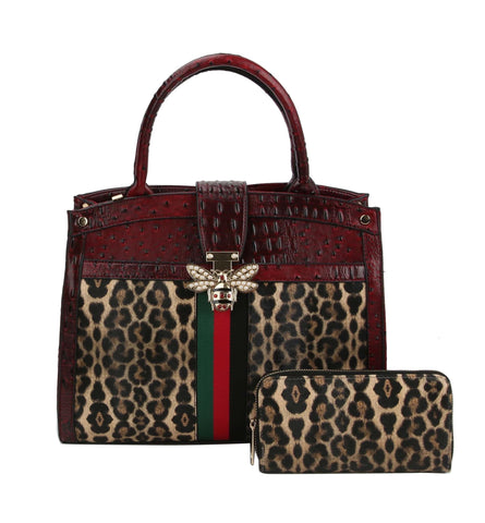 Ostrich & Leopard Inspired handbag 2 in 1 59.99 (RED)