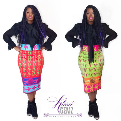 High Waist Abstract Skirt