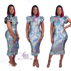 Holographic Ruffle Dress