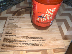New Soul Kitchen Creole Hot Sauces & Bamboo Collard Green recipe card