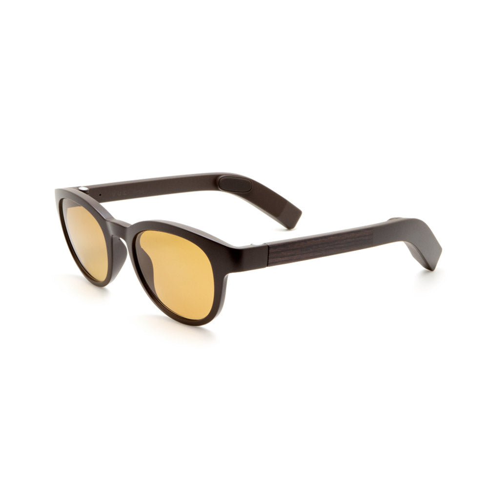 Trendy Sunglasses VUE GLASSES Brown Wood Tinted Black Non-corrective