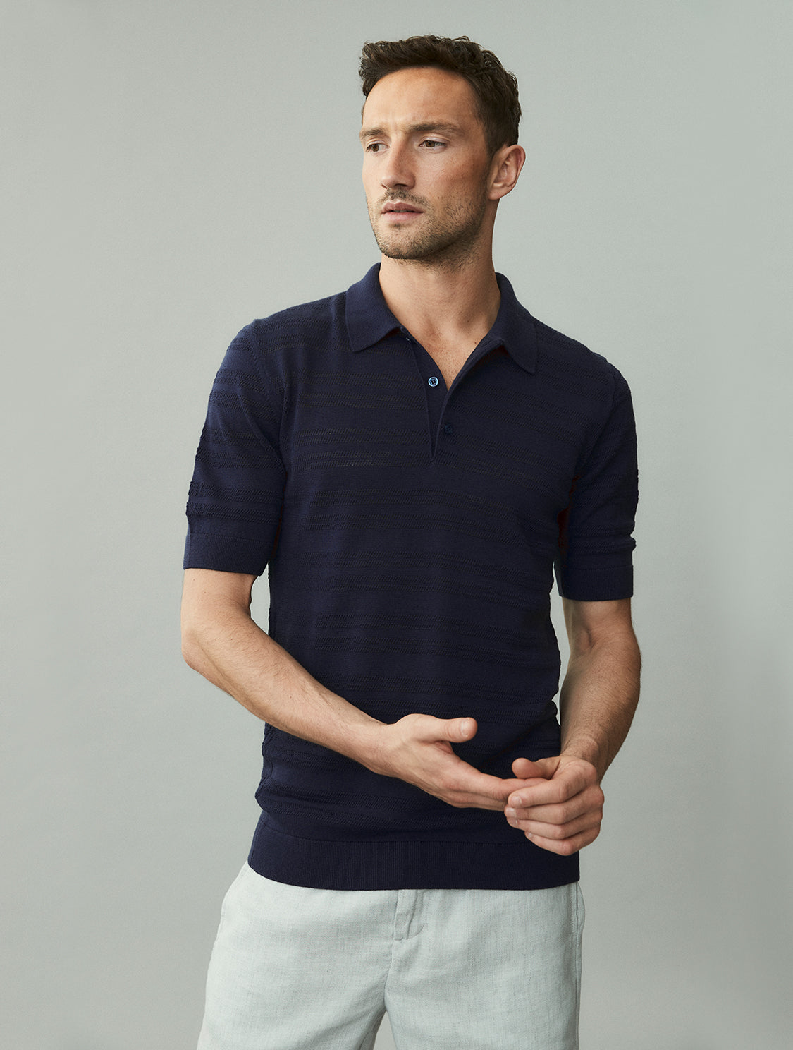 Perforated Merino Knit Polo