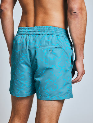 SPORT SWIM SHORTS  LINEAR TILE PRINT