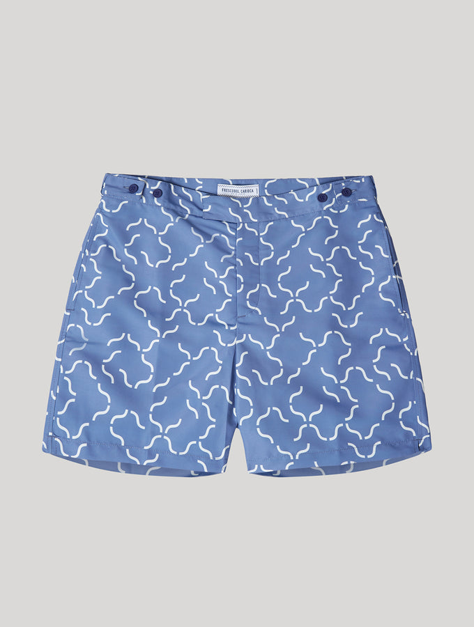 TAILORED SWIM SHORTS LINEAR TILE PRINT