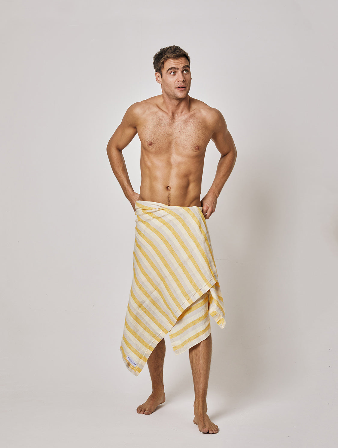 Medium Stripe Linen Beach Towel