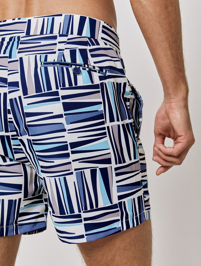 Palm Print Tailored Swim Shorts
