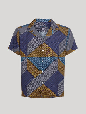 Weave Print Camp Collar Shirt