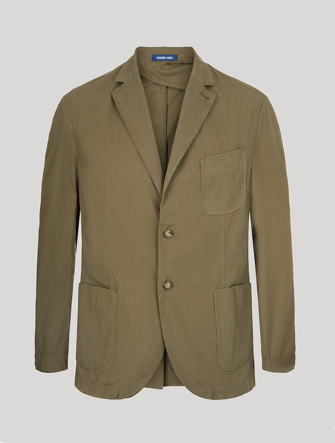 Cotton Single-Breasted Deconstructed Seersucker Blazer