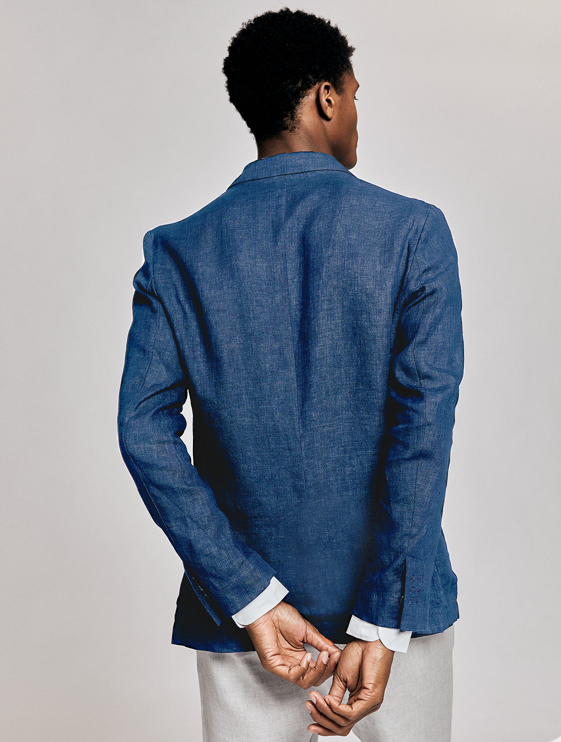 Linen Double-Breasted Deconstructed Blazer