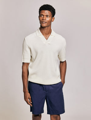 Textured Knit Polo Shirt