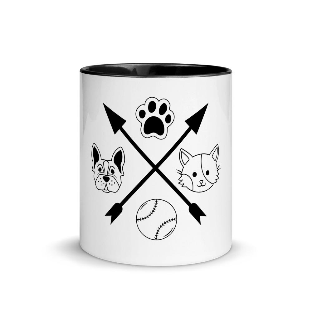 Cat and Dog Mug with Color Inside Pets Animals - OlaFan