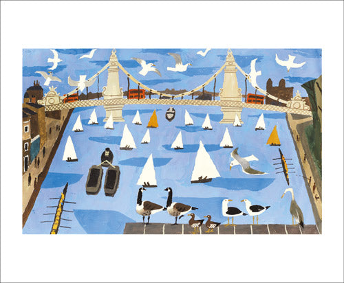 Sailing Boats and Bridge Blank Card