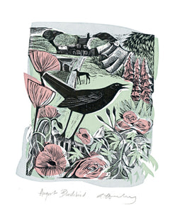 August Blackbird Blank Card