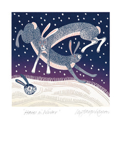 Hares in Winter Blank Card