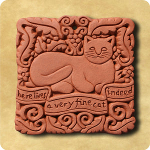 Decorative Tile - Here Lives a Fine Cat
