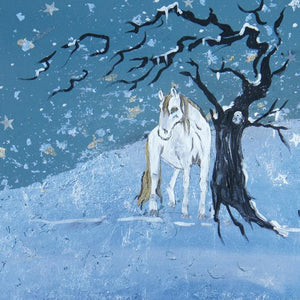 White Horse in the Snow Blank Card