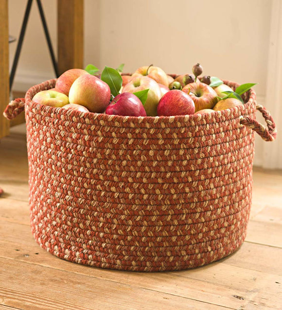 Braided Polypro Roanoke Basket with Handles - Black Multi