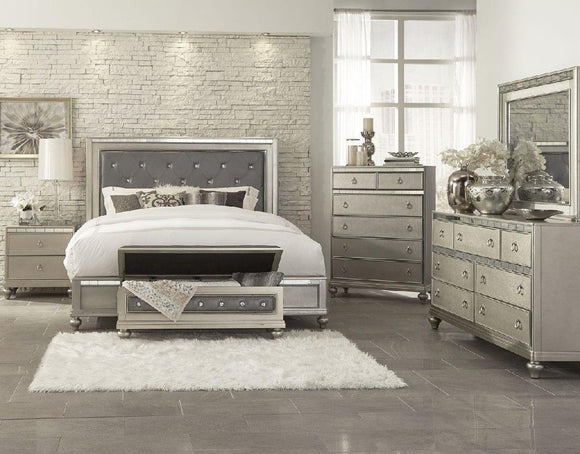 Christopher Mirrored Twin Bed in Silver Finish - MYCO CR449-F