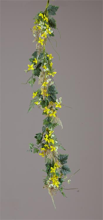 Garland - Forsythia, Ferns, Green Leaves