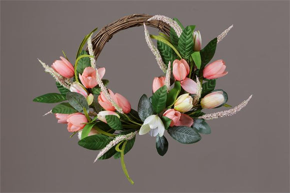 Wreath - Twig, Tulips, Assorted Foliage