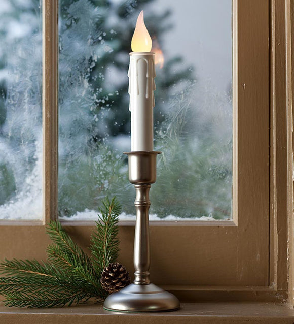 Battery-Operated Cordless Candle With Auto Timer - Brass