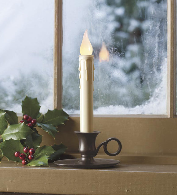 Battery-Operated Cordless Classic Candlestick With Auto Timer - Brass