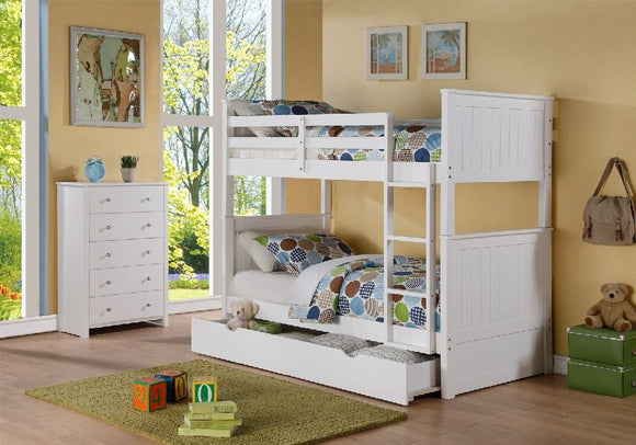 Avalon Twin Captain's Bed with Twin Trundle & Storage in White Finish - MYCO 9063-WH