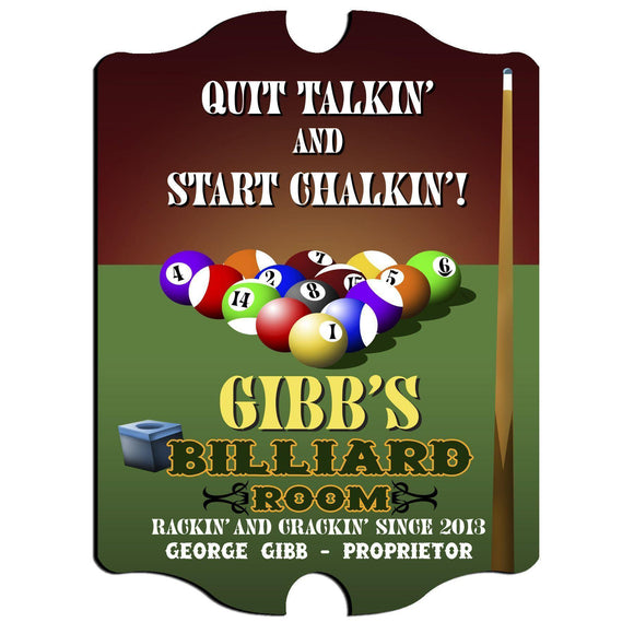 Personalized Billiards Vintage Series Pub Sign