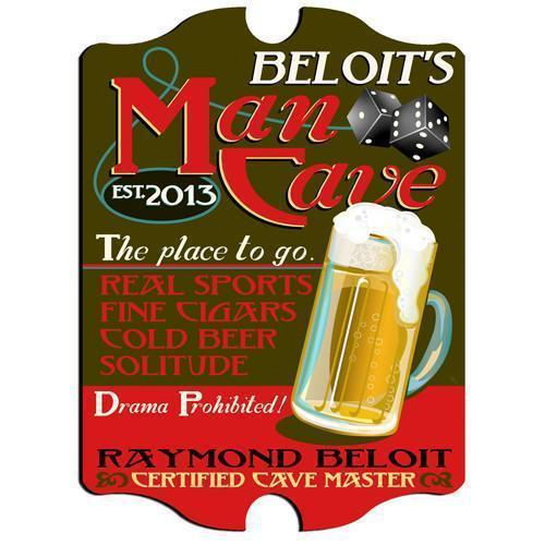 Personalized Man Cave Vintage Series Pub Sign