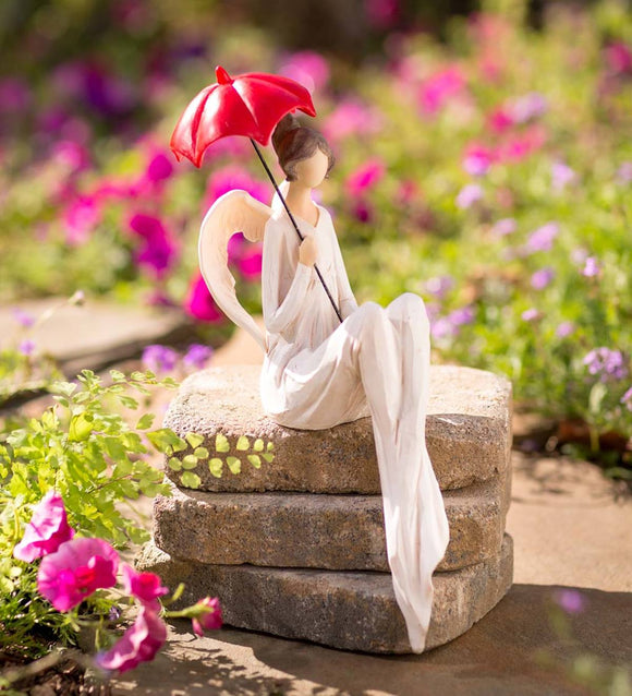 Seated Angel with Red Umbrella Indoor/Outdoor Statue
