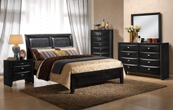 Emily Faux Leather Twin Bed in Black Finish - MYCO EM1500-T