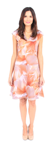 Custom Print Arden Dress in Peach Floral