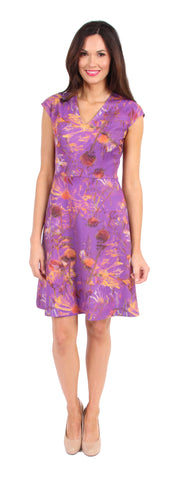 Custom Print Arden Dress in Purple Floral