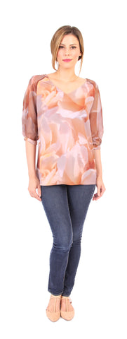 Custom Print Baseball Top in Peach Floral