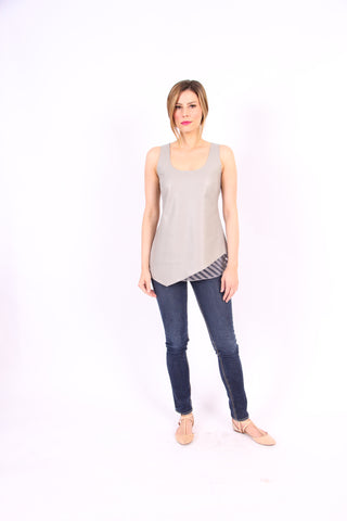 Flo Vegan Friendly Leather Tank in Taupe