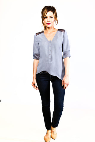 Anna Asymmetrical Top in Blue