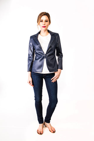 Morgan Vegan Leather Jacket in Navy