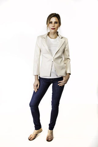 Morgan Vegan Leather Jacket in Ivory