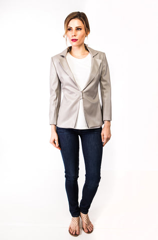 Morgan Vegan Leather Jacket in Taupe