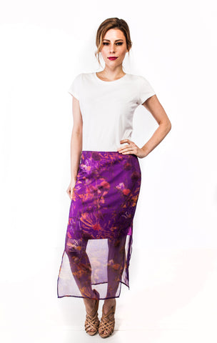 Midi Nora Skirt in Purple Floral