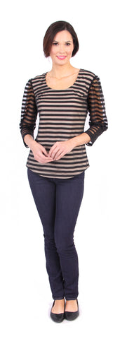 Merritt Stripe Top in Black