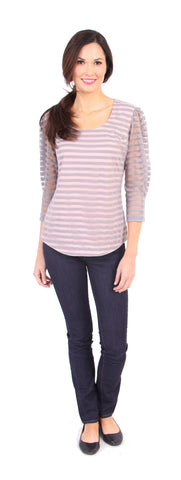 Merritt Stripe Top in Gray