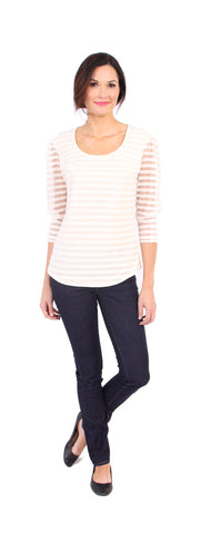 Merritt Stripe Top in Ivory