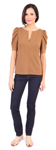 Pam Pleat Tee in Caramel