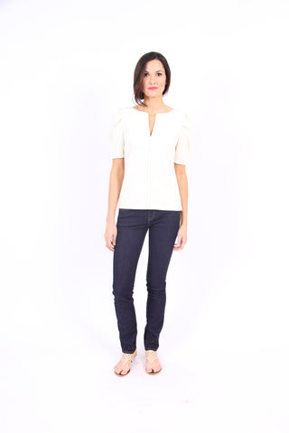 Pam Pleat Tee in Winter White