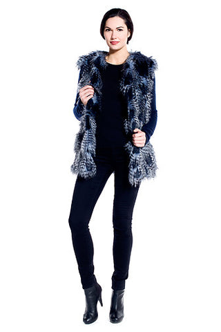 Winterland Faux Fur Vest in Peacock